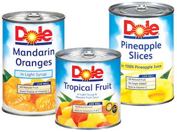 Save 0.75 off (2) Dole Canned Fruit Printable Coupon