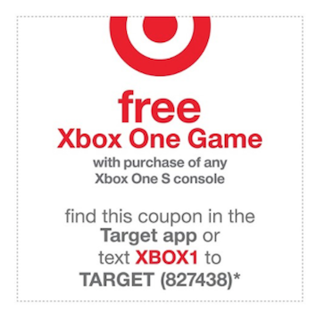 target coupon code buy a xbox one console get a free game