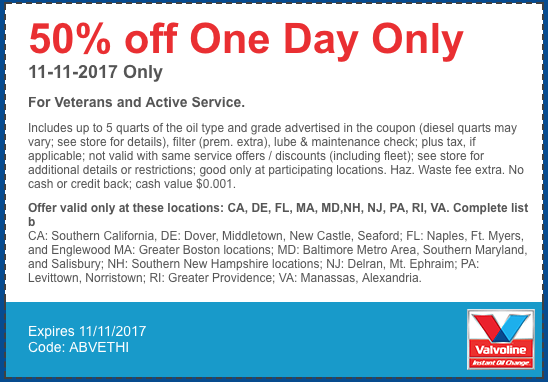 For more than 30 years Valvoline Instant Oil Change has provided quick, convenient maintenance services for busy people. Just pull in to your neighborhood location. Save 15%* off your total invoice at participating Valvoline Instant Oil Change locations in Washington (33), Idaho (3) and Oregon (42).