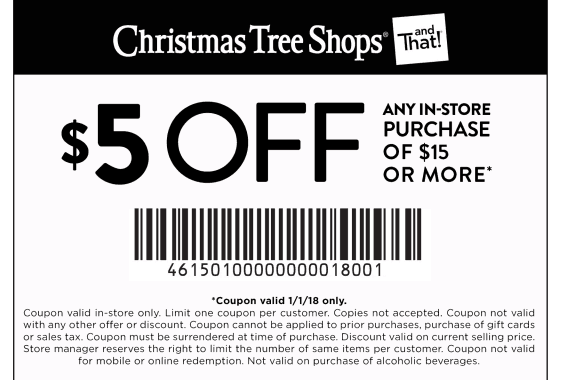 save 5 off 15 at christmas trees shops with printable coupon for 2018 - Christmas Tree Shop Printable Coupon