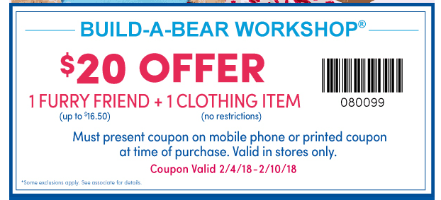 photograph relating to Build a Bear Coupon Printable named Develop-A-Endure $20 for (1) Undergo + (1) Clothes with Coupon