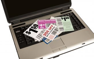 laptop with coupons