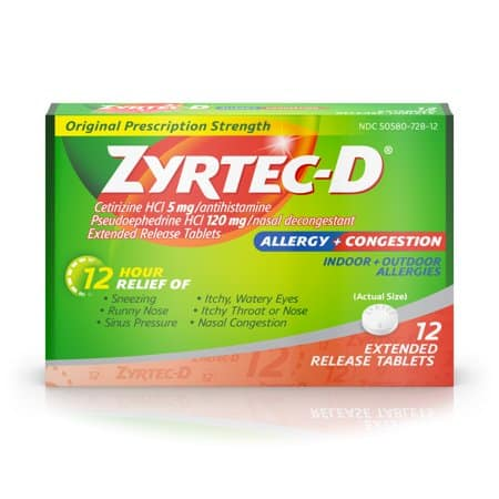 picture regarding Zyrtec Coupon Printable named Help save $4.00 off (1) Zyrtec-D Allergy Congestion Reduction Coupon