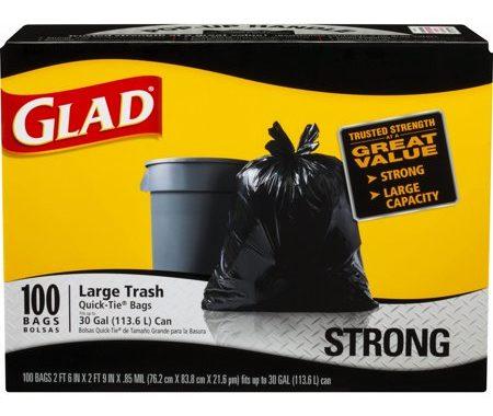 Save $2.50 off (1) Glad Large Trash Bags Printable Coupon